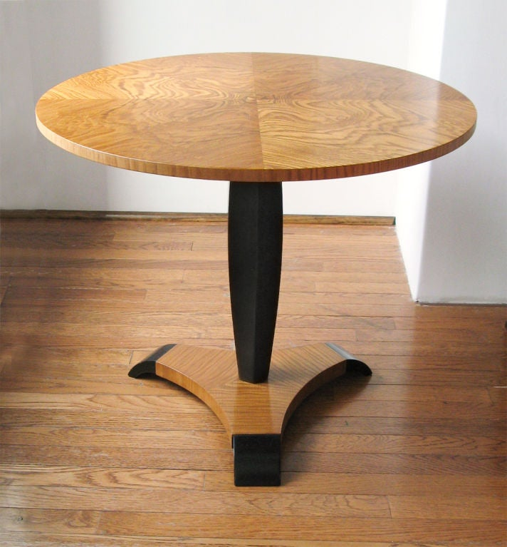 Art Deco pedestal side table in elm with tripod base by Reimers Mobler ...