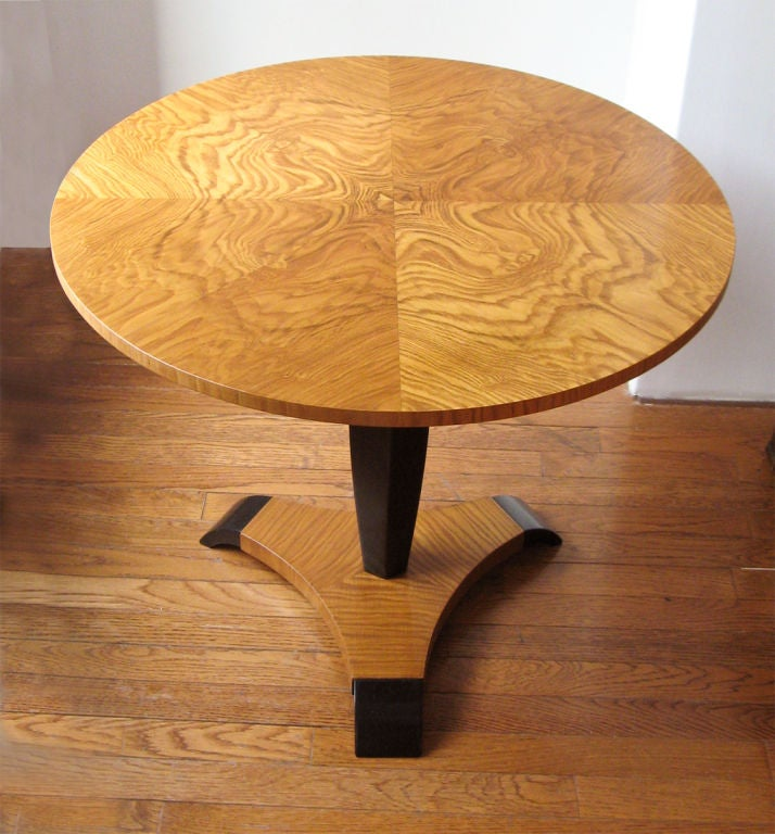 swedish art deco pedestal side table in elm with tripod base by reimers mobler 3