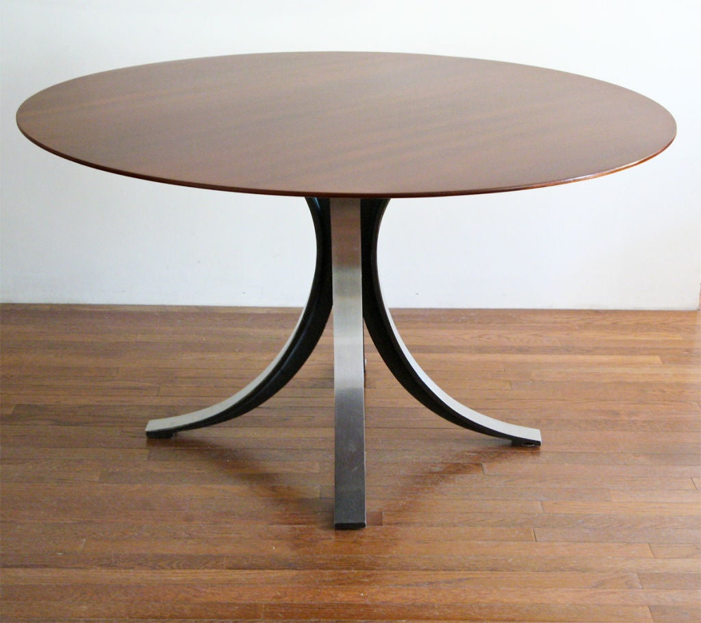 osvaldo borsani round dining table with steel base wood top at 1stdibs. Black Bedroom Furniture Sets. Home Design Ideas