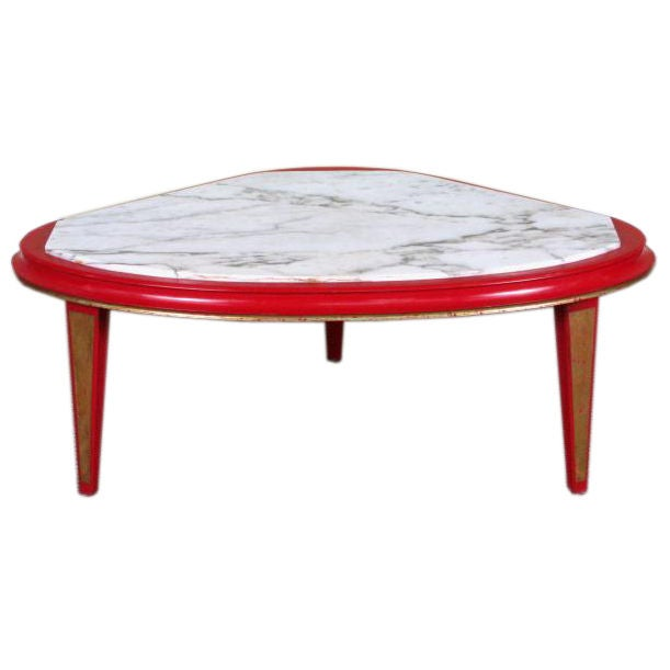 Maison Jansen Modern Red Lacquer And Gilt Marbletop Coffee Table At 1stdibs