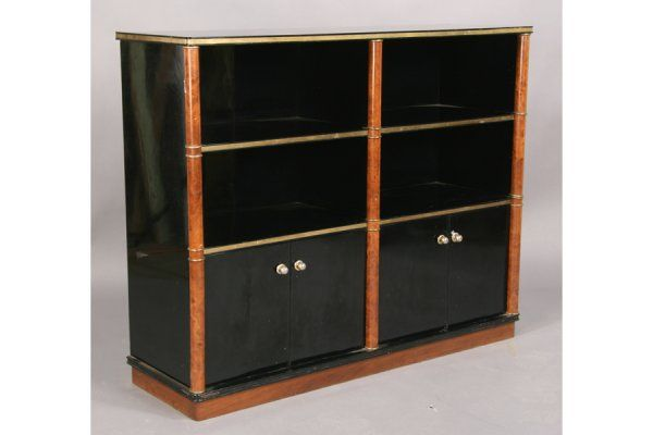 Black lacquer with burled wood bookcase media center at for Media center with bookshelves
