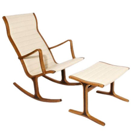 This Modern White Leather and Wood Japanese Rocker and Ottoman is no ...