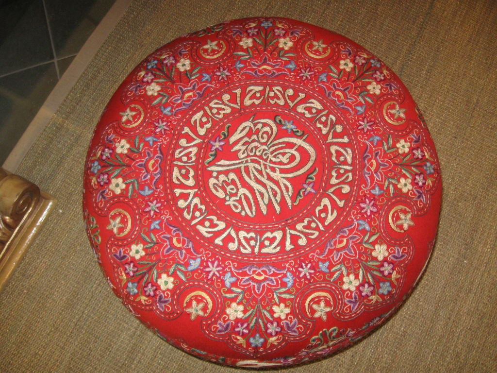 Asian Inspired Silk Embroidered Ottoman At 1stdibs