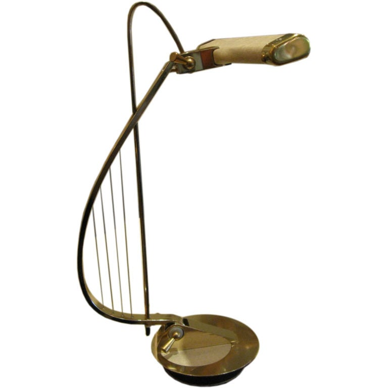 Sculptural Brass Treble Clef Piano Lamp 1