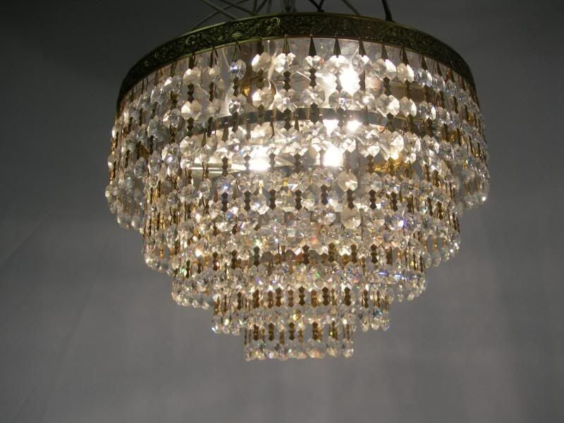 Small Multi Tier Crystal Chandelier Flush Mount at 1stdibs
