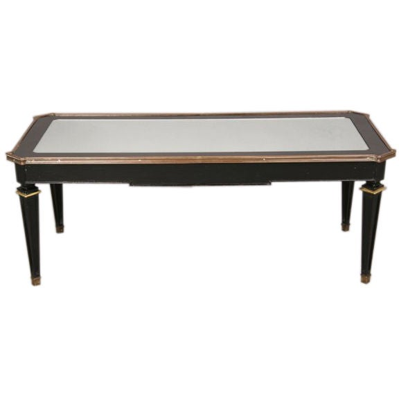 Jansen Style Ebonized Coffee Table With Inset Mirrored Top At 1stdibs