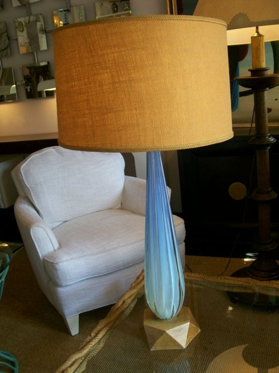 Mid-20th Century Seguso Aqua Blue Channelled Murano Glass Lamp  For Sale