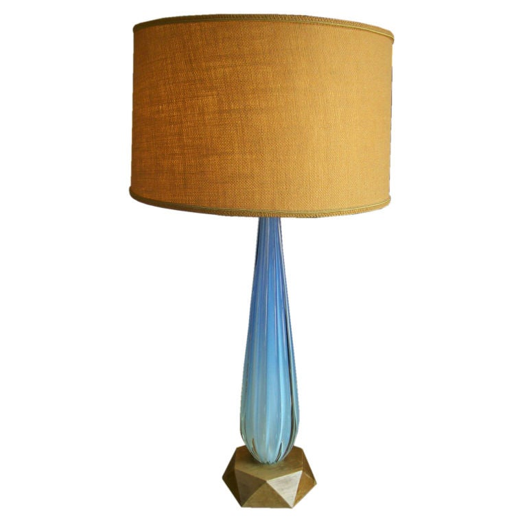 a massive aqua blue murano glass lamp made by toso for. Black Bedroom Furniture Sets. Home Design Ideas