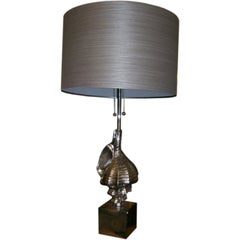 Nickel Plated Nautical Shell Table Lamp
