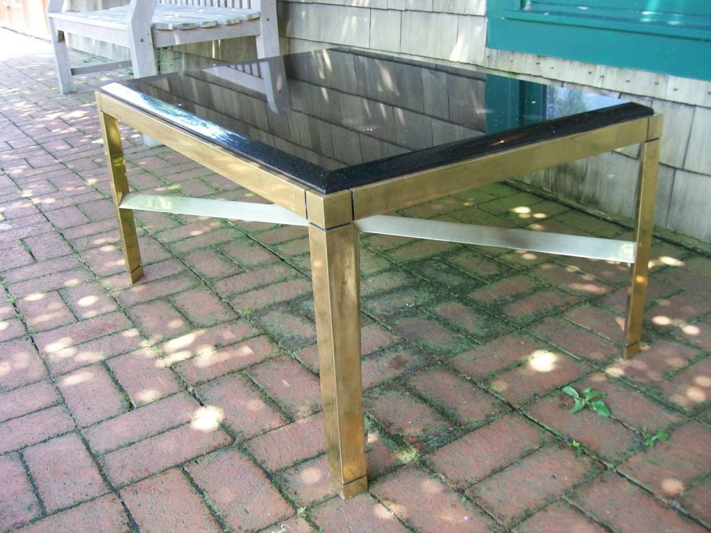 Karl Springer Triangular Leg Brass Coffee Table In Good Condition For Sale In East Hampton, NY