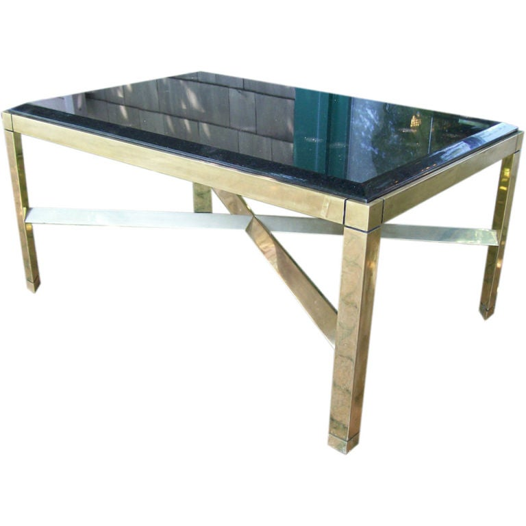 Coffee Table Legs Brass: Karl Springer Triangular Leg Brass Coffee Table For Sale