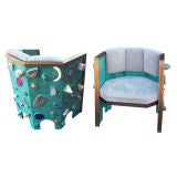 Extremely Rare Studio Hexagonal Armchairs w/ Natural Jewels
