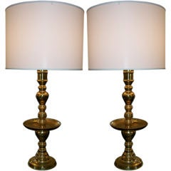 Pair of Tall Brass Candlestick Table Lamps