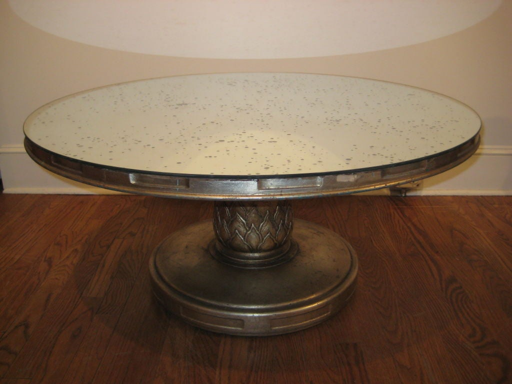 Silver Leaf Coffee Table With Mercury Glass Mirror At 1stdibs
