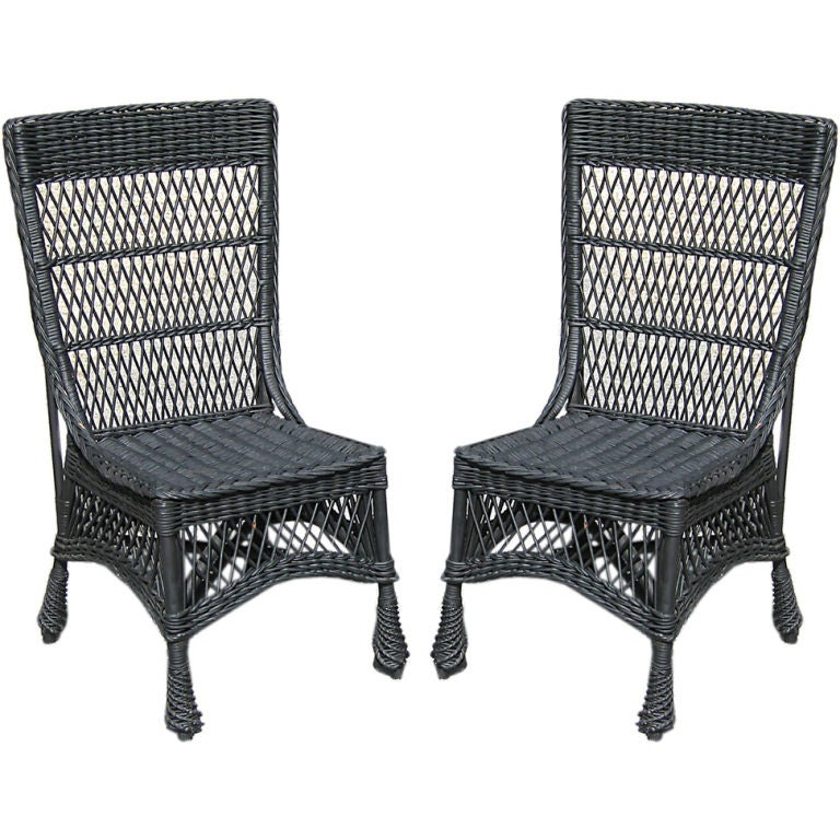 Bar Harbor Wicker Side Chairs At 1stdibs