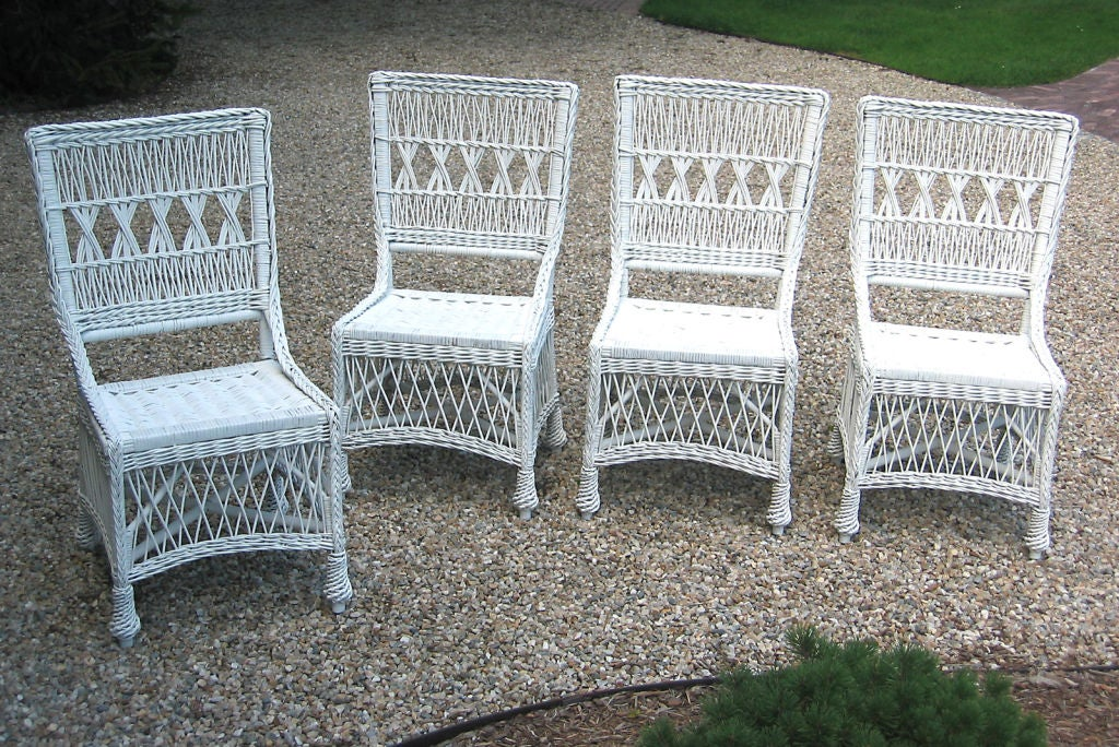 Matching set of four bar harbor wicker dining chairs at for Dining room sets with matching bar stools