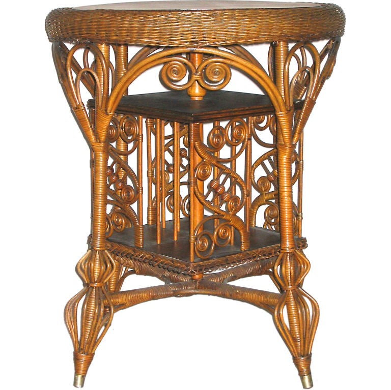Rare Victorian Wicker Revolving Bookcase Table At 1stdibs