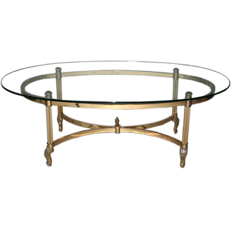 Brass and chrome glass top oval coffee table at 1stdibs for Oval wrought iron coffee table with glass top