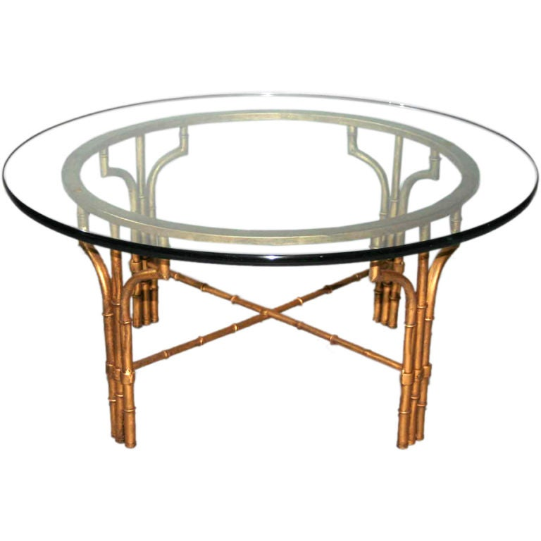 Bamboo Coffee Table Round: Faux Bamboo Round Metal Coffee Table At 1stdibs