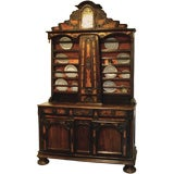 A Rare French Elm, Walnut & Pearwood Stepback Cupboard