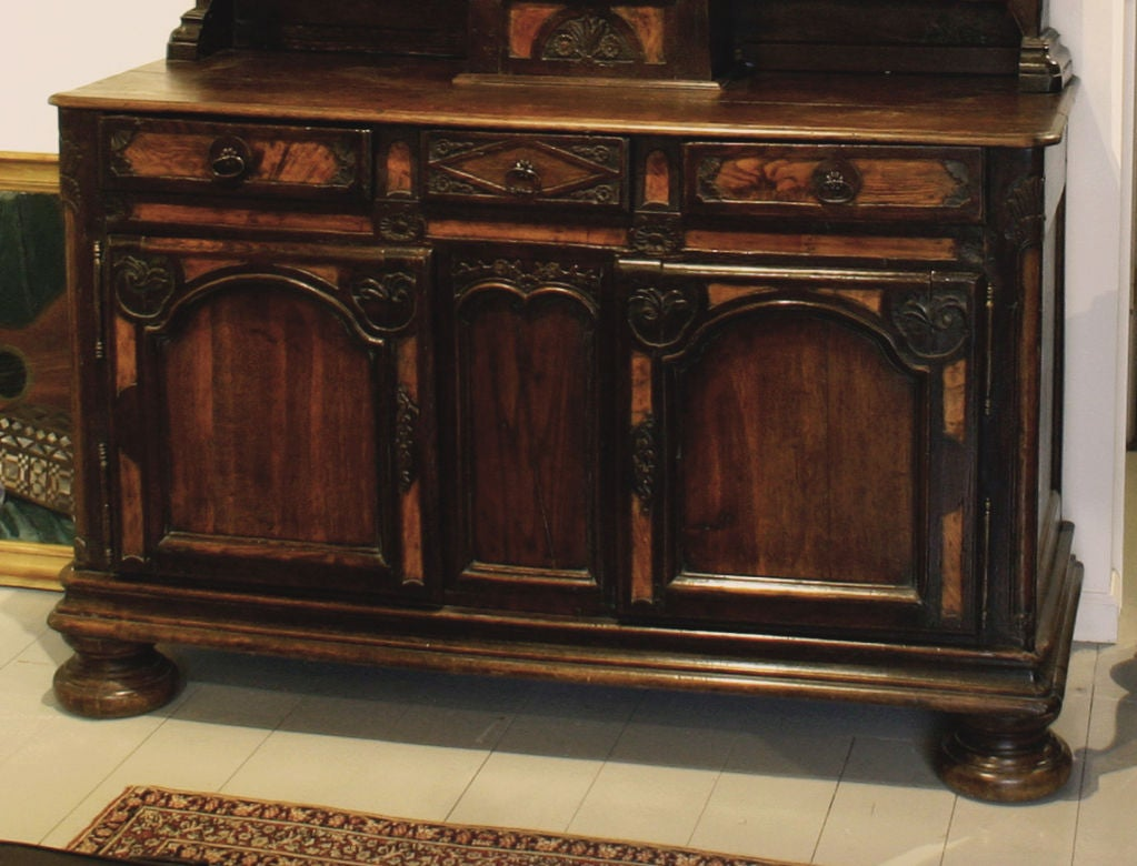 A Rare French Elm, Walnut and Pearwood   Stepback Cupboard with Clock   From Bresse Region of France  18th Century  Height 101 in.  Width 59 in. Depth 24 in.