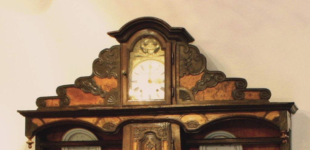 18th Century and Earlier A Rare French Elm, Walnut & Pearwood Stepback Cupboard For Sale