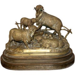 A Bronze Figural Group of Rams by Jules Moignez