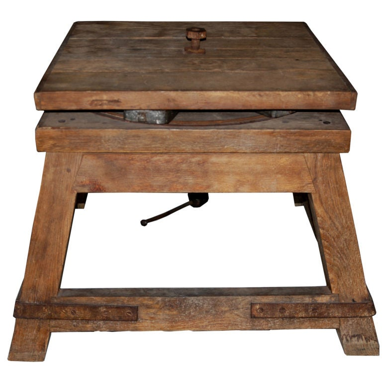 A French Oak And Iron Revolving Sculptors TableStand At