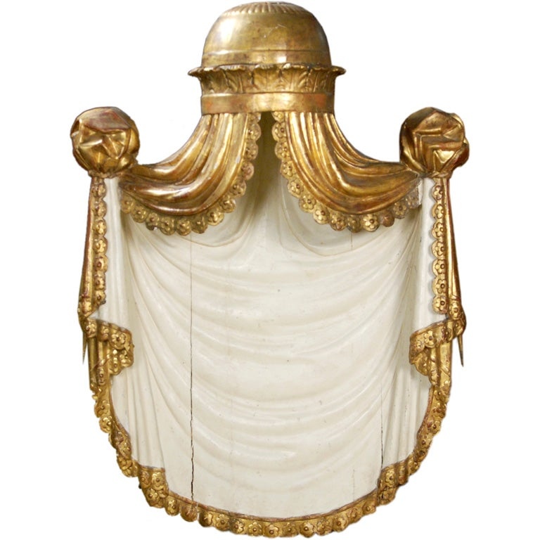 A Painted & Gilt-wood Bed Crown/Architectural Element