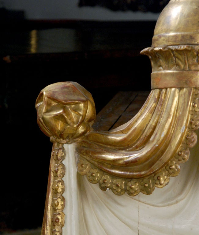 A Painted & Gilt-wood Bed Crown/Architectural Element image 3