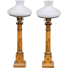 English Pair Tall Converted Gas Lamps