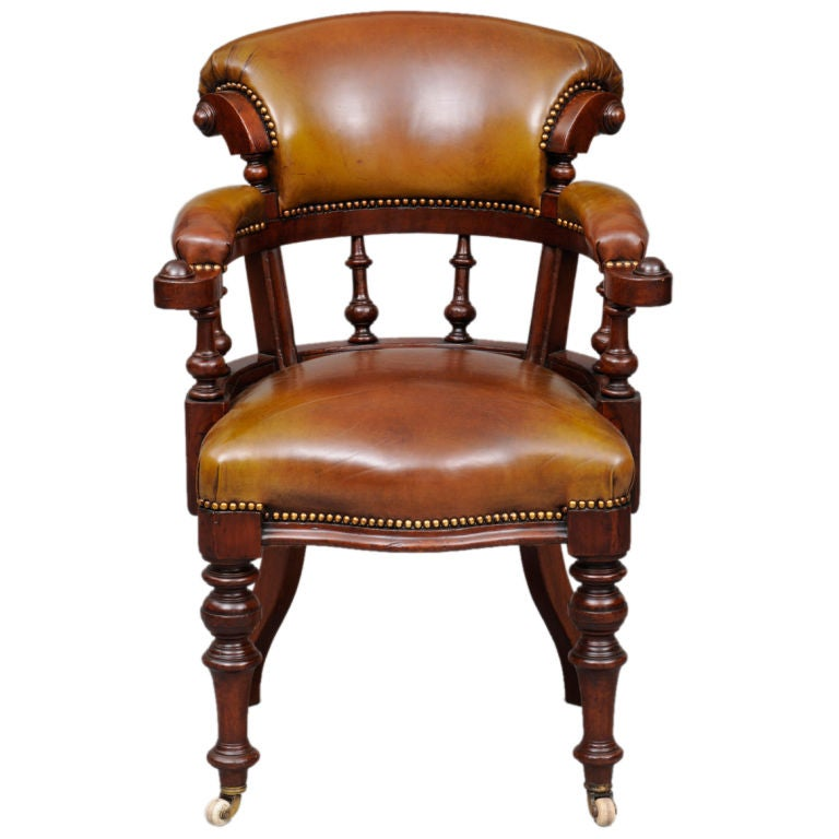 English Leather Desk Chair At 1stdibs