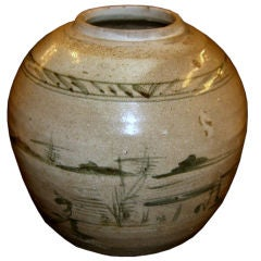 19th Century Korean pottery vase with decoration artist signed