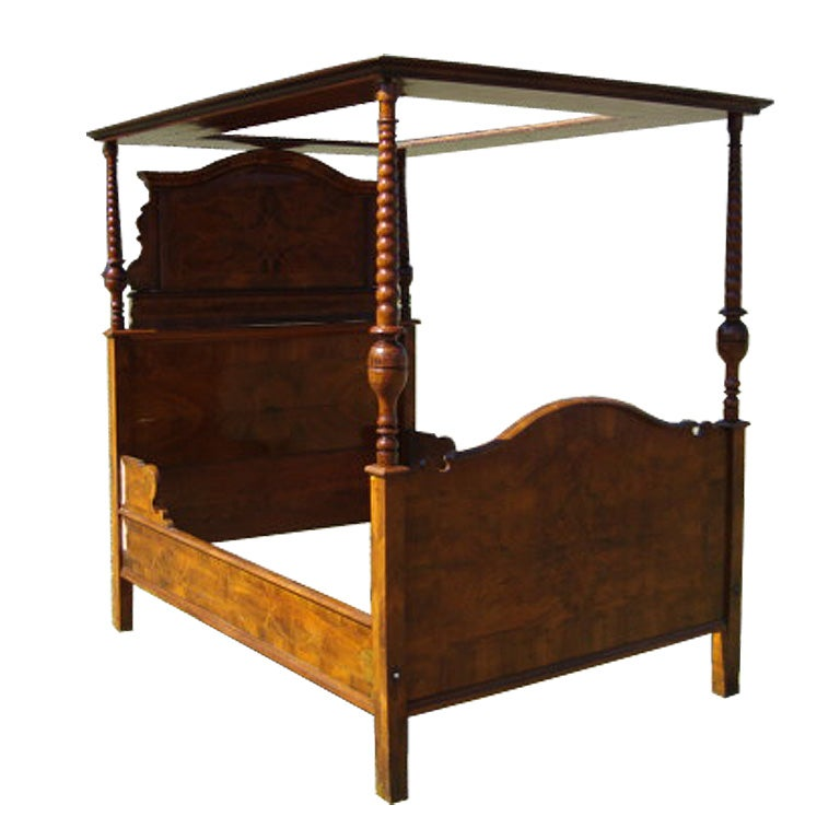 beautifully inlaid 3 4 tester bed dated 1768 w custom. Black Bedroom Furniture Sets. Home Design Ideas