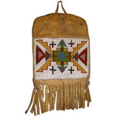 Early 20th Century Beaded Native American Indian Deerskin Pouch