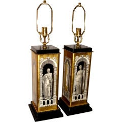 Beautiful Glass eglomise neo-classical lamps manner  Fornasetti