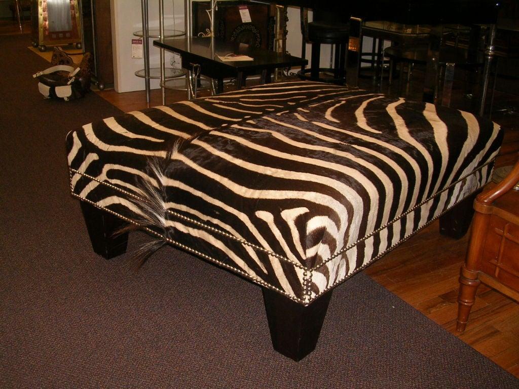 Large Zebra Hide Ottoman At 1stdibs