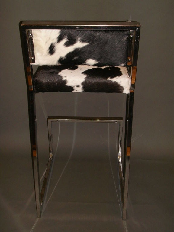 Set Of Four 1970 S Chrome And Cowhide Bar Stools At 1stdibs