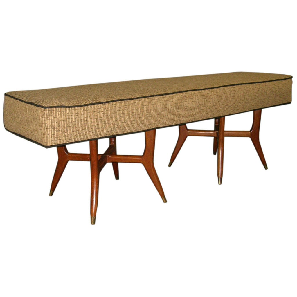 Mid century 63 upholstered long bench pair available at 1stdibs Long upholstered bench