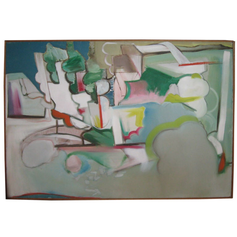 Midcentury Abstract Expressionist Oil Painting by R. Collzo For Sale
