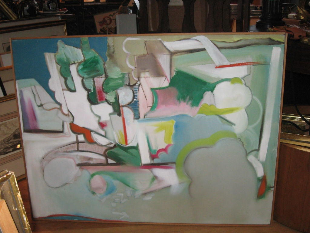 American Midcentury Abstract Expressionist Oil Painting by R. Collzo For Sale