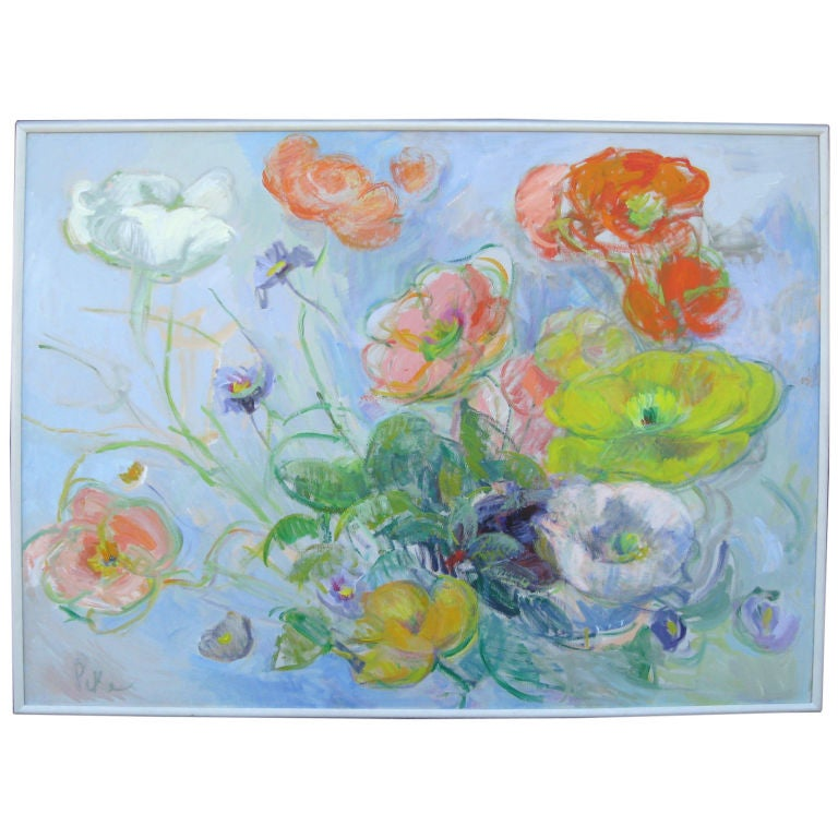 Joyce Pike Impressionistic Oil Painting of  Anemones  For Sale