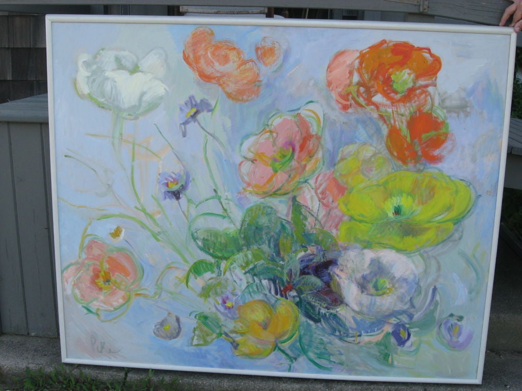 Joyce Pike Impressionistic Oil Painting of  Anemones  In Good Condition For Sale In Water Mill, NY