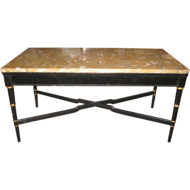 Fossil Shell Marble And Ebonized Wood Coffee Table At 1stdibs