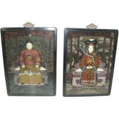 Pair Oriental Reverse Paintings on Glass