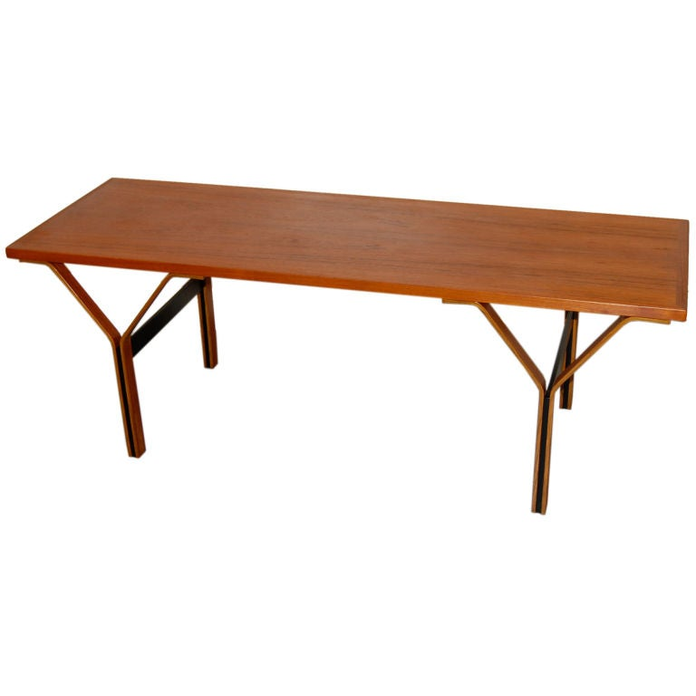 Danish Coffee Table w/ Molded Ply Legs at 1stdibs