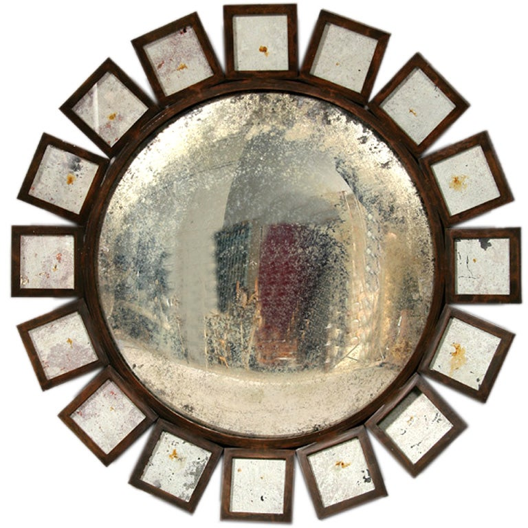 Large iron and glass mirror at 1stdibs for Tall glass mirror