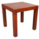 Leather-Clad Occasional Table