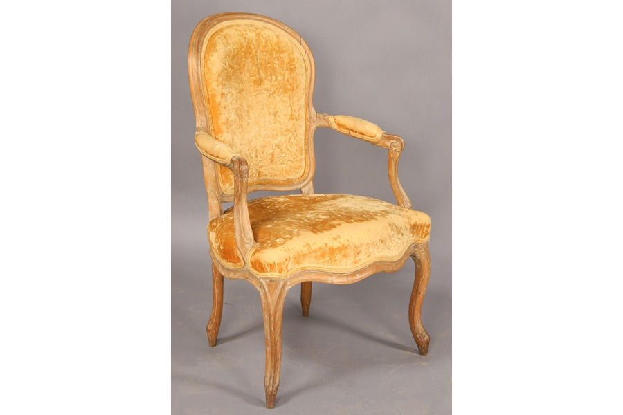 pair of french louis xv fauteuil cabriolet at 1stdibs. Black Bedroom Furniture Sets. Home Design Ideas