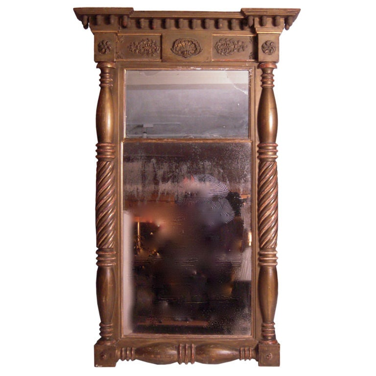 Large 19th Century American Federal Style Giltwood Mirror At 1stdibs